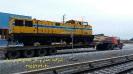 حمل لوکوموتیو راه آهن جهت جابجایی در راه آهن تهران توسط کمر شکن 7 محورطاروق شرکت خلیج فارس ترابر