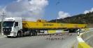 حمل محموله ترافیکی جرثقیل سقفی، توسط تریلی کفی کشویی شرکت حمل و نقل خلیج فارس ترابر